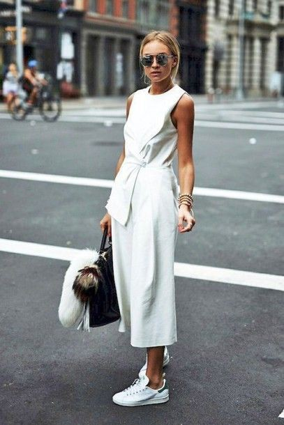 Outfit ideas wear culottes jumpsuit, street fashion, fashion model