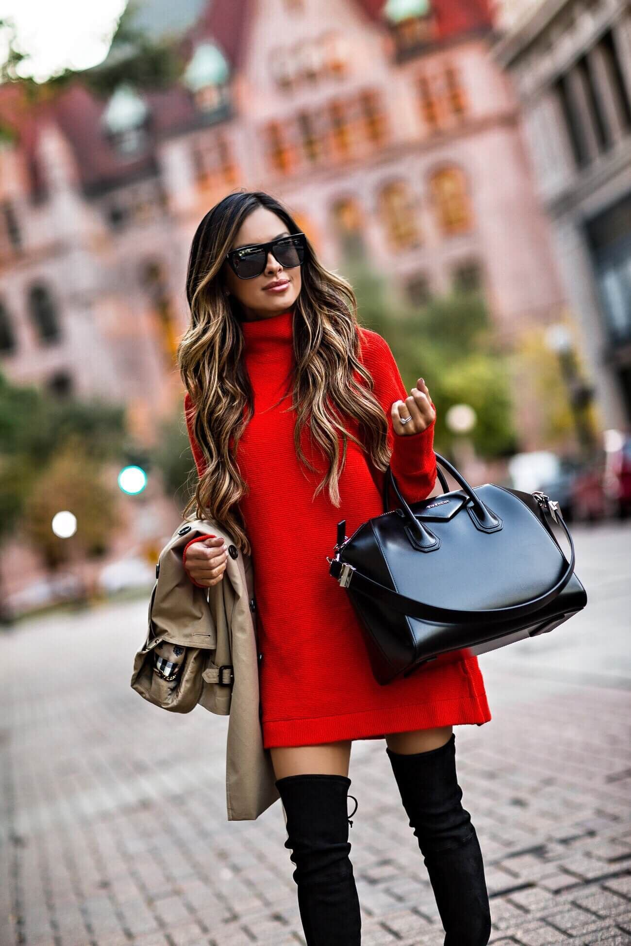 Red lookbook dress with sweater, coat
