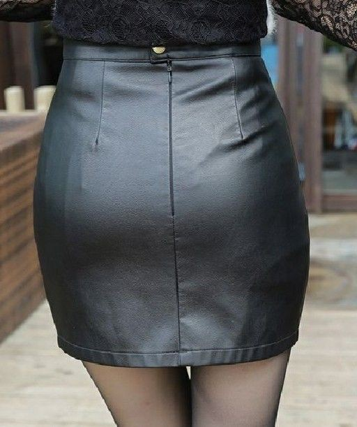 Black style outfit with leather skirt, pencil skirt, miniskirt
