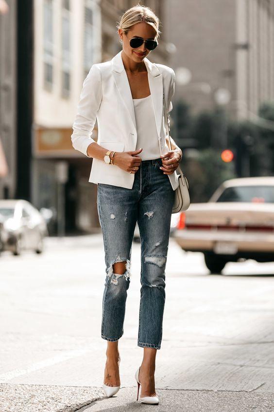 Jeans pumps white blazer high heeled shoe, street fashion