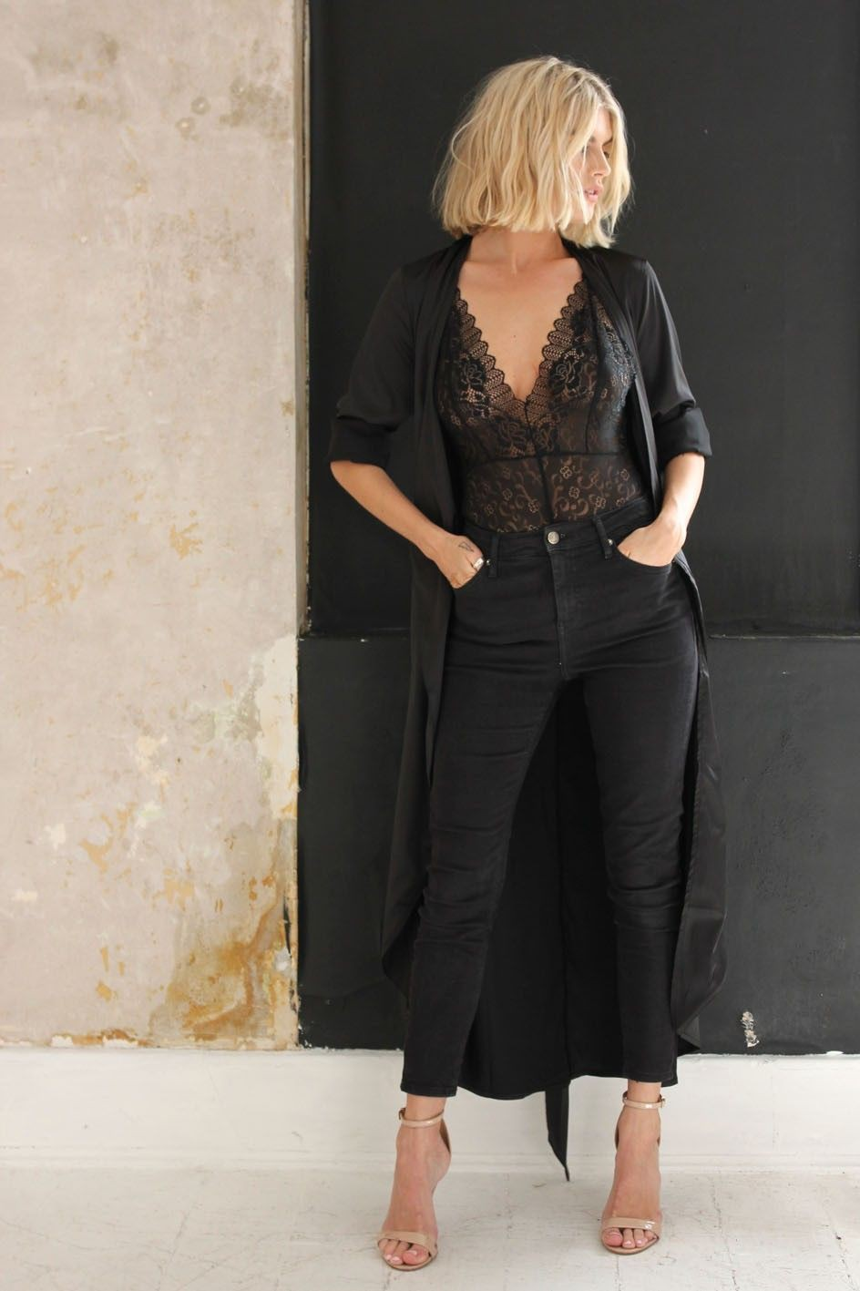 Black satin duster outfit