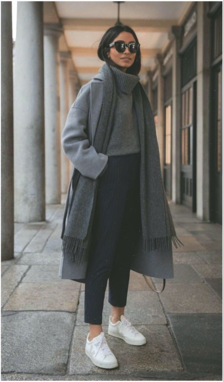 Beige colour outfit with coat eyewear, shoe