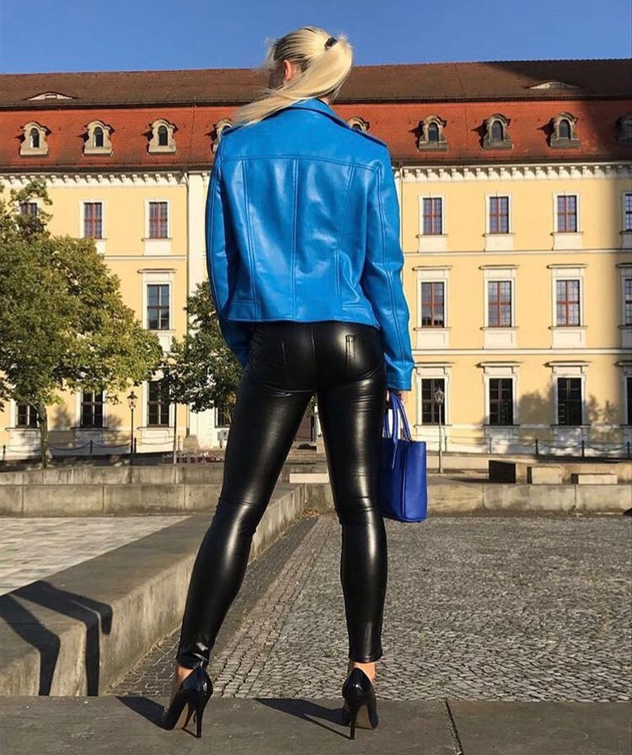 Electric blue and cobalt blue colour outfit ideas 2020 with leather jacket, trousers, leggings