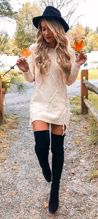 Cute sweater dress outfits thigh high boots, knee high boot