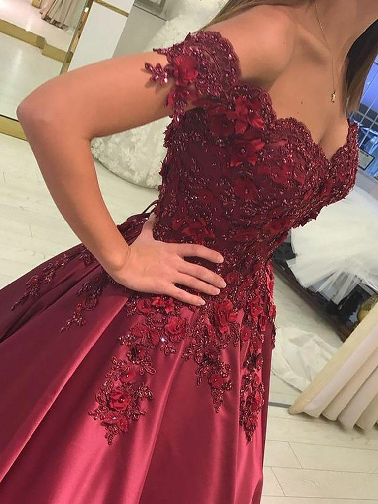 Ball gown sleeveless off the shoulder applique satin floor length dresses