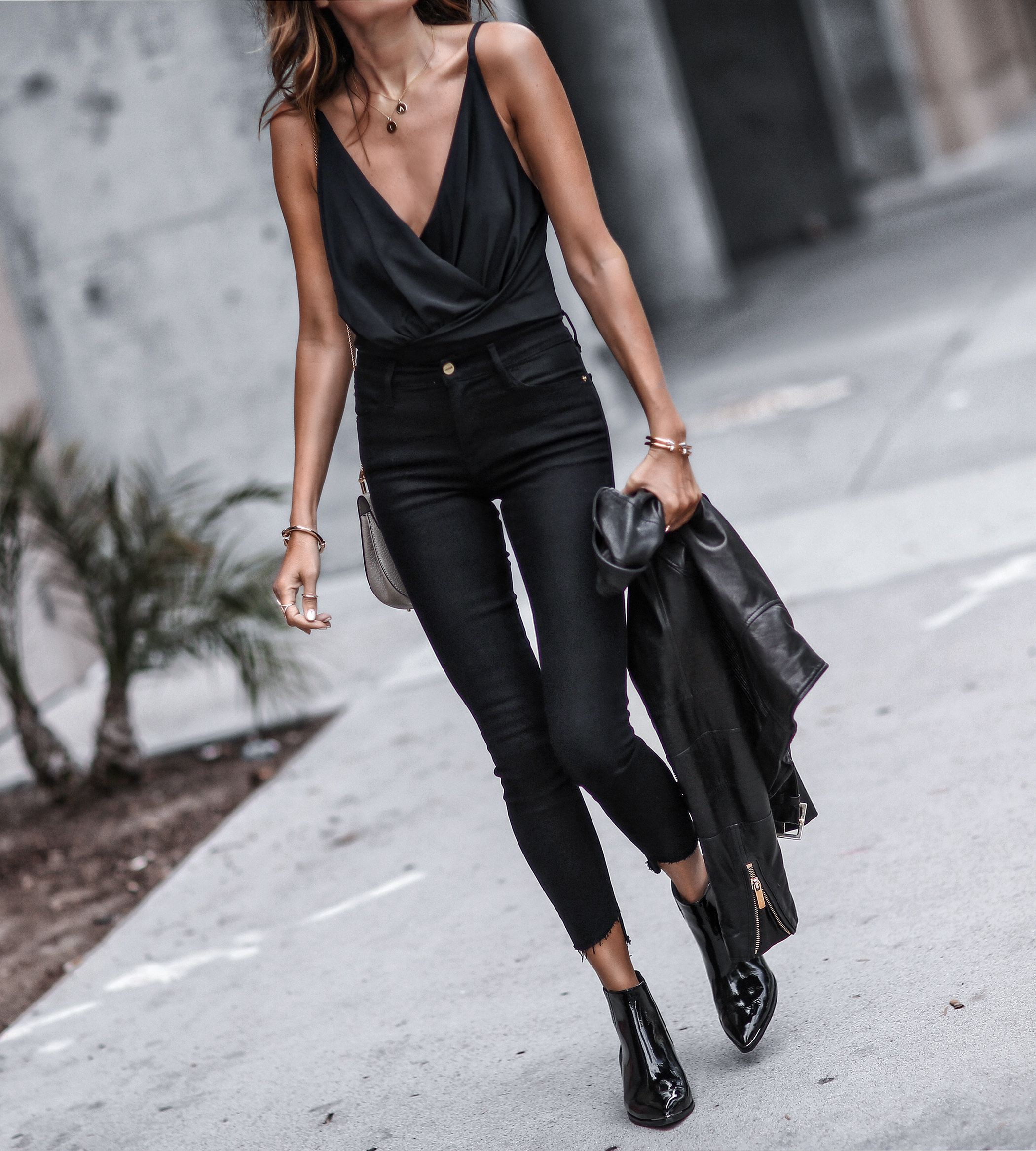 Black patent leather booties outfit
