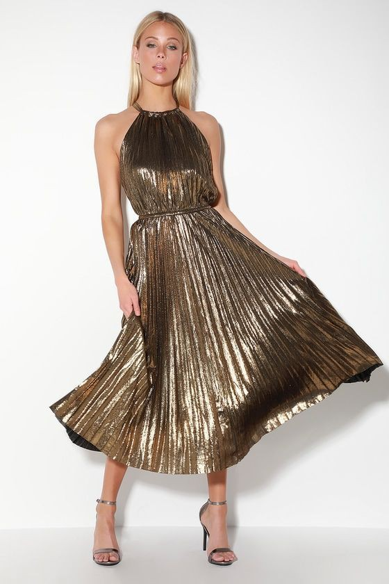 Trendy clothing ideas pleated gold dress, cocktail dress, fashion model, lucy paris