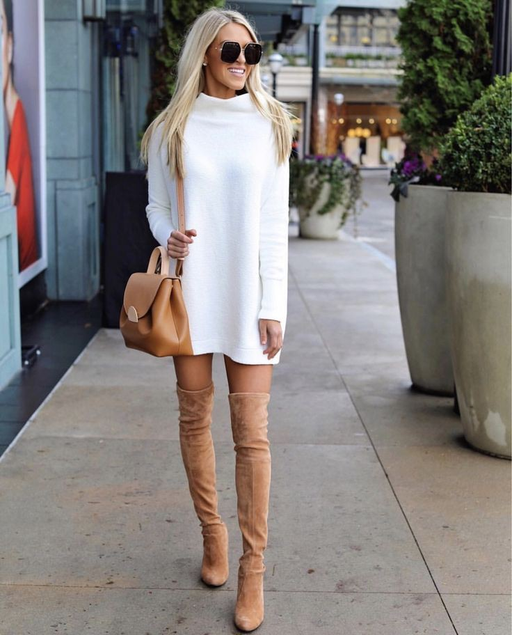 Tan over the knee boots outfit