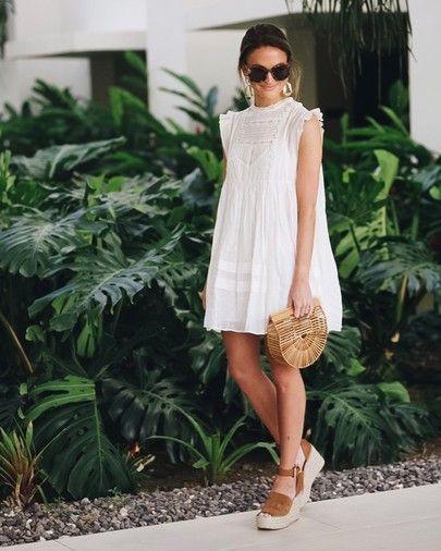 White eyelet babydoll dress, cocktail dress, street fashion, wedding dress, fashion model