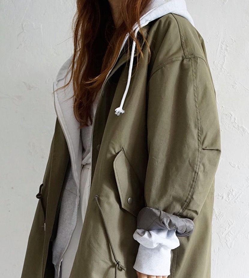 Khaki outfit style with jean jacket, overcoat, jacket