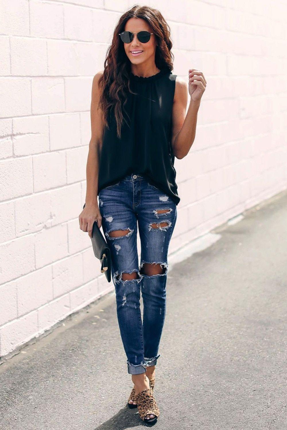 Blue colour combination with sleeveless shirt, leggings, denim