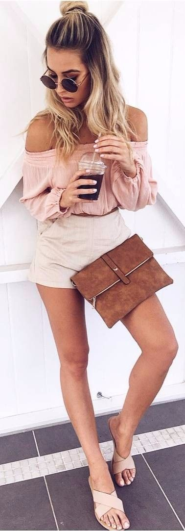 Tan outfit ideas with skirt, shirt sunglasses