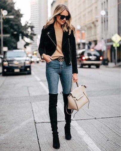 Casual thigh high boots outfit