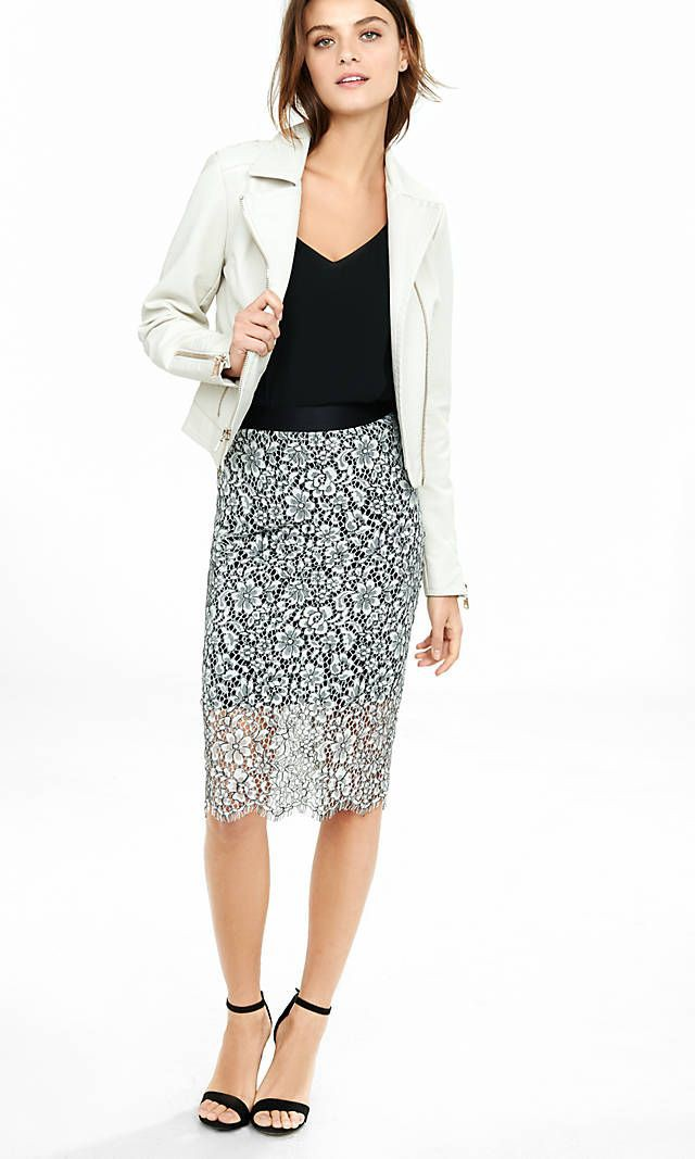White colour outfit with pencil skirt, formal wear, blazer