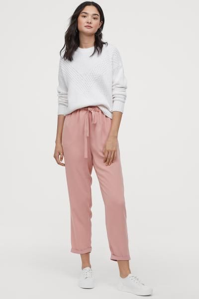 White and pink colour outfit with sportswear, trousers, leggings