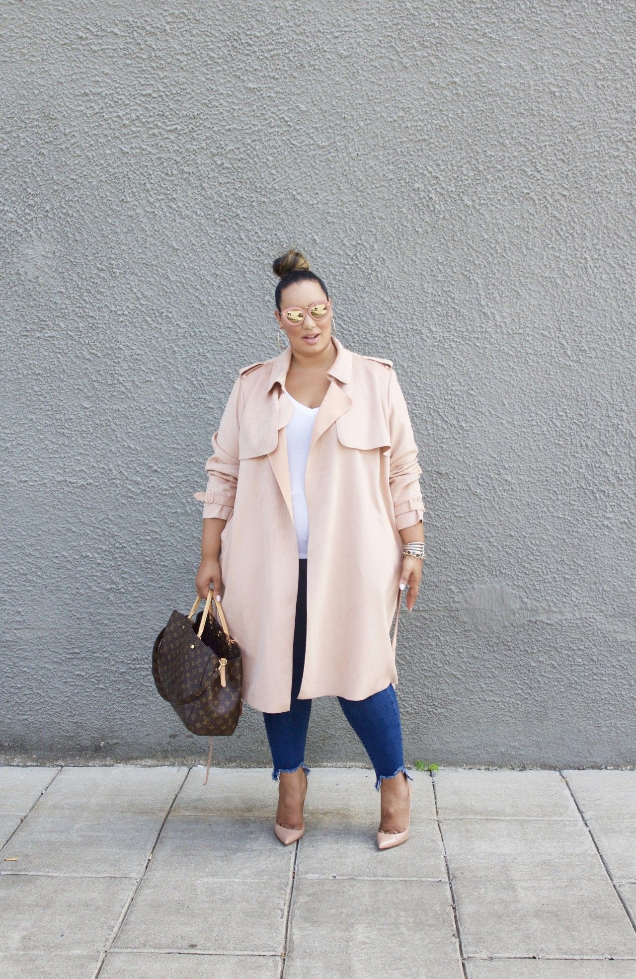 Beige and white colour dress with trench coat, overcoat, skirt
