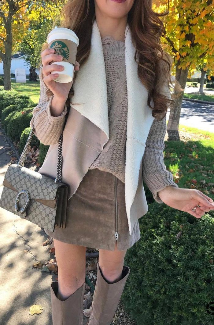 Beige and khaki colour dress with jacket, street fashion, outerwear