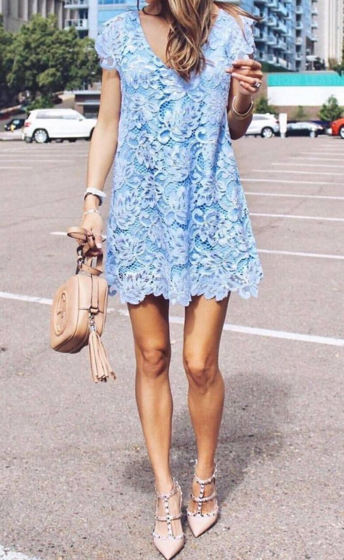 Turquoise and white outfit style with cocktail dress, dress jeans, denim