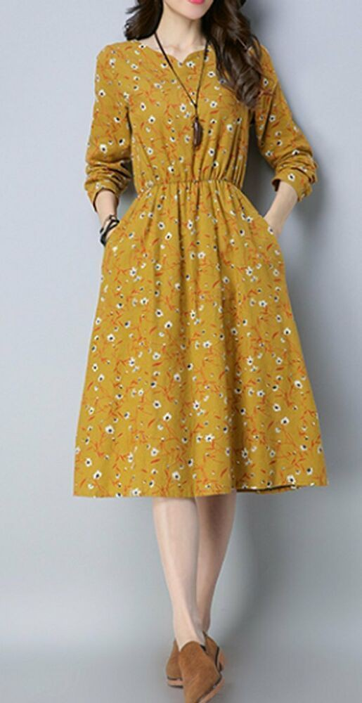 Orange and yellow dress vintage clothing, day dress