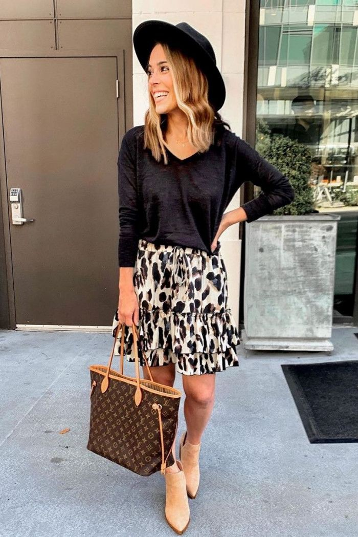 Brown and black outfit with dress polka dot, sweater, skirt