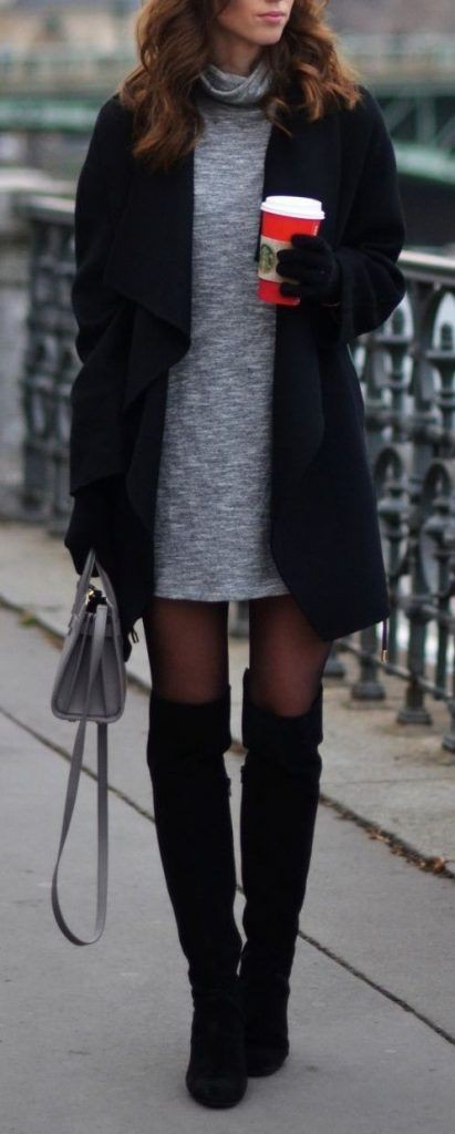 Sweater dress winter outfit, winter clothing, street fashion, casual wear