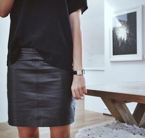 Capsule wardrobe leather skirt little black dress, capsule wardrobe