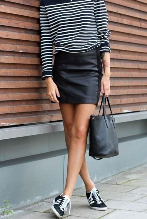 Clothing ideas leather skirt trainers, street fashion, leather skirt, casual wear, t shirt