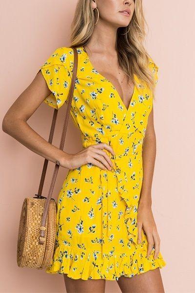 Yellow attire with cocktail dress, wrap dress, dress