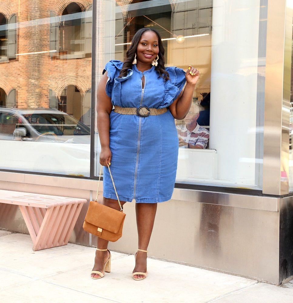 Plus size denim dress plus size clothing, plus size model