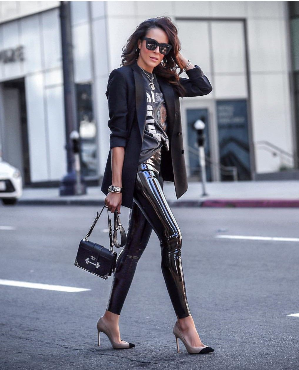 Black outfit ideas with leather jacket, trousers, leggings