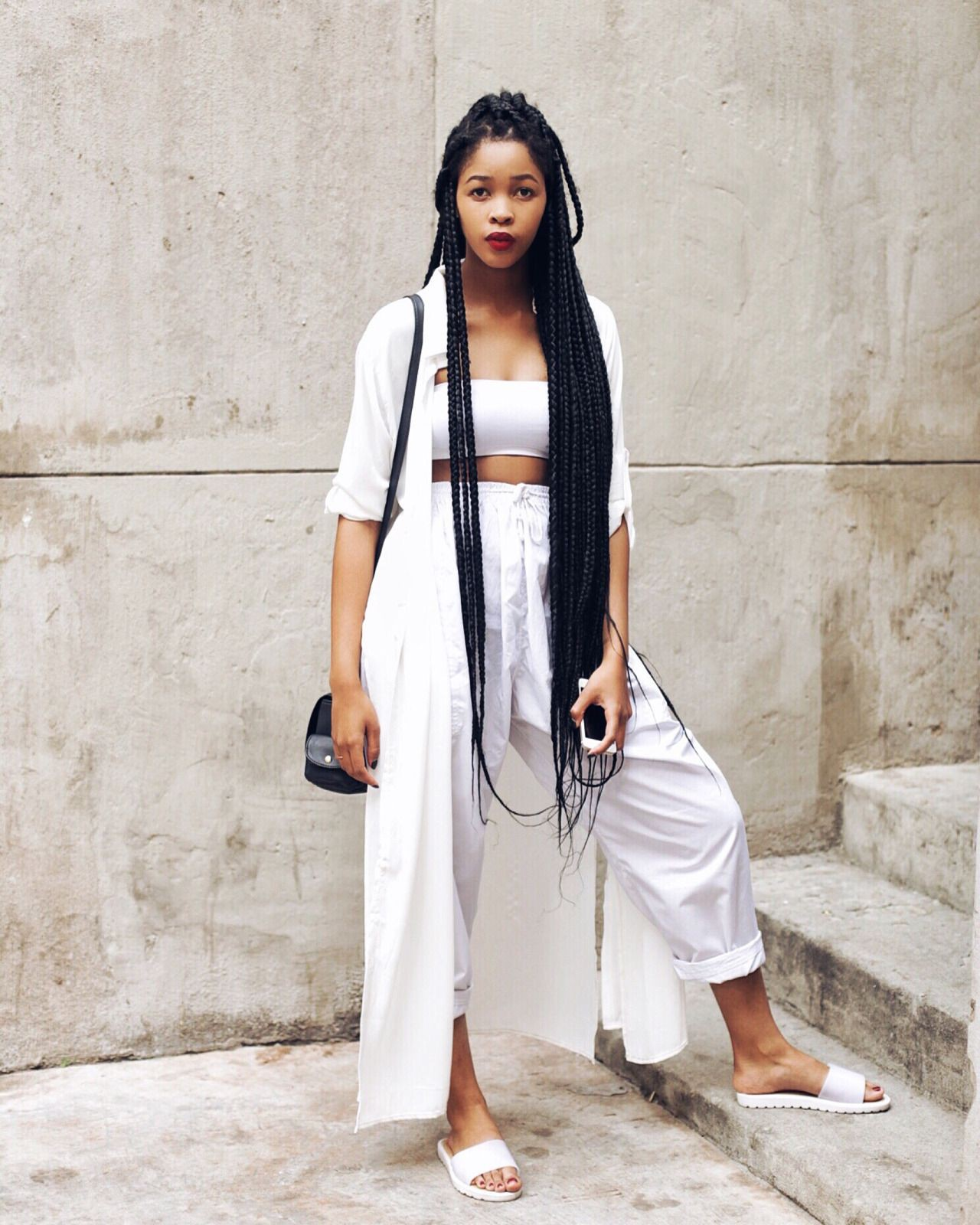 Colour outfit long braids outfits, street fashion, street style, photo shoot, formal wear, box b ...