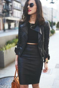 Leather skirt and jacket outfit