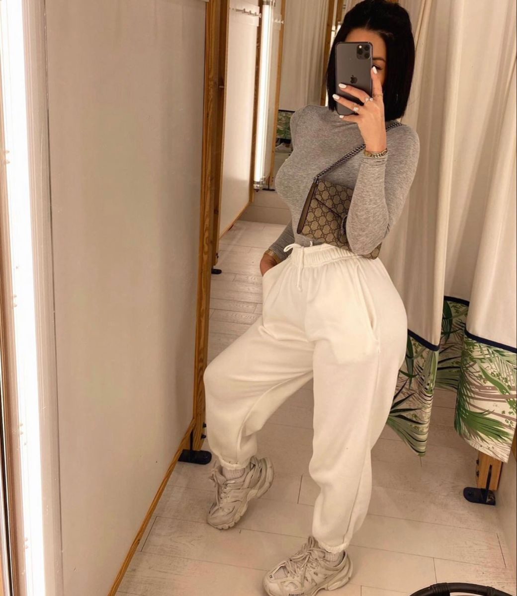 white outfit ideas with sweatpant, trousers, hot legs