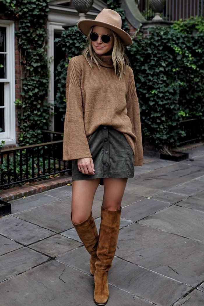 Brown colour outfit with sweater, skirt riding boot, shoe, boot