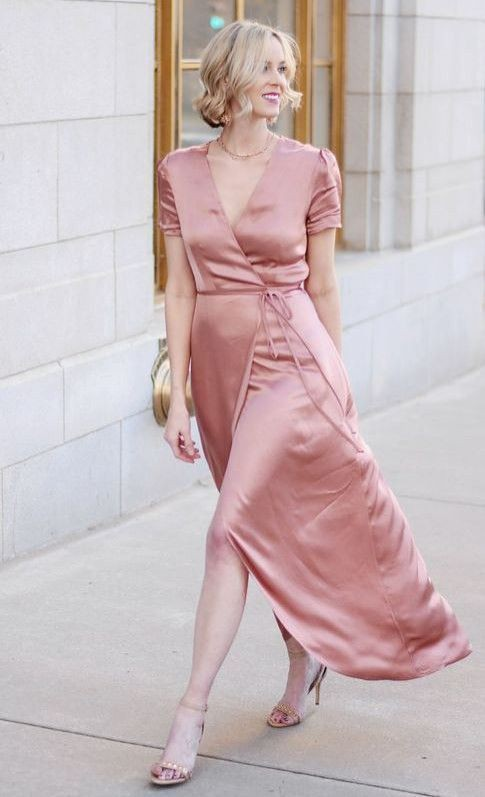 Pink attire with cocktail dress, party dress, wrap dress