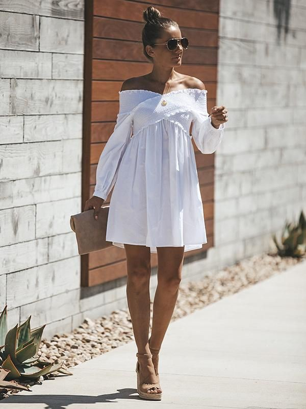 White colour outfit with cocktail dress