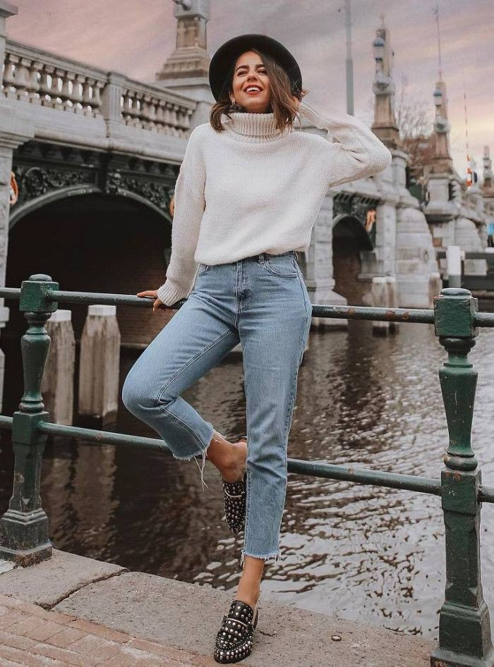 White trendy clothing ideas with mom jeans, sweater, denim