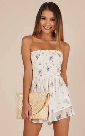 White trendy clothing ideas with strapless dress, cocktail dress