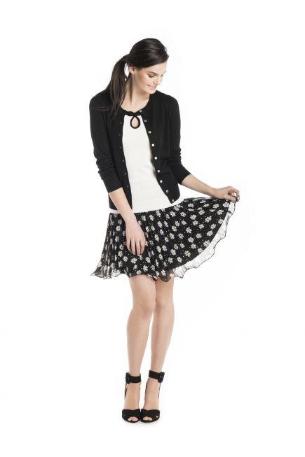 Black and white colour ideas with polka dot, skirt