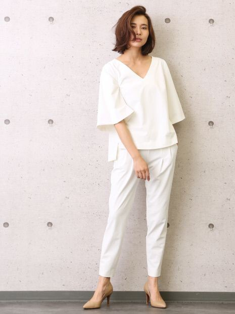 Beige and white lookbook fashion with trousers, pajamas, blouse