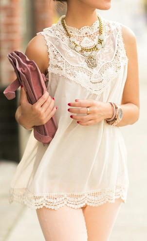 Beige and white outfit with cocktail dress, trousers, blouse, shirt