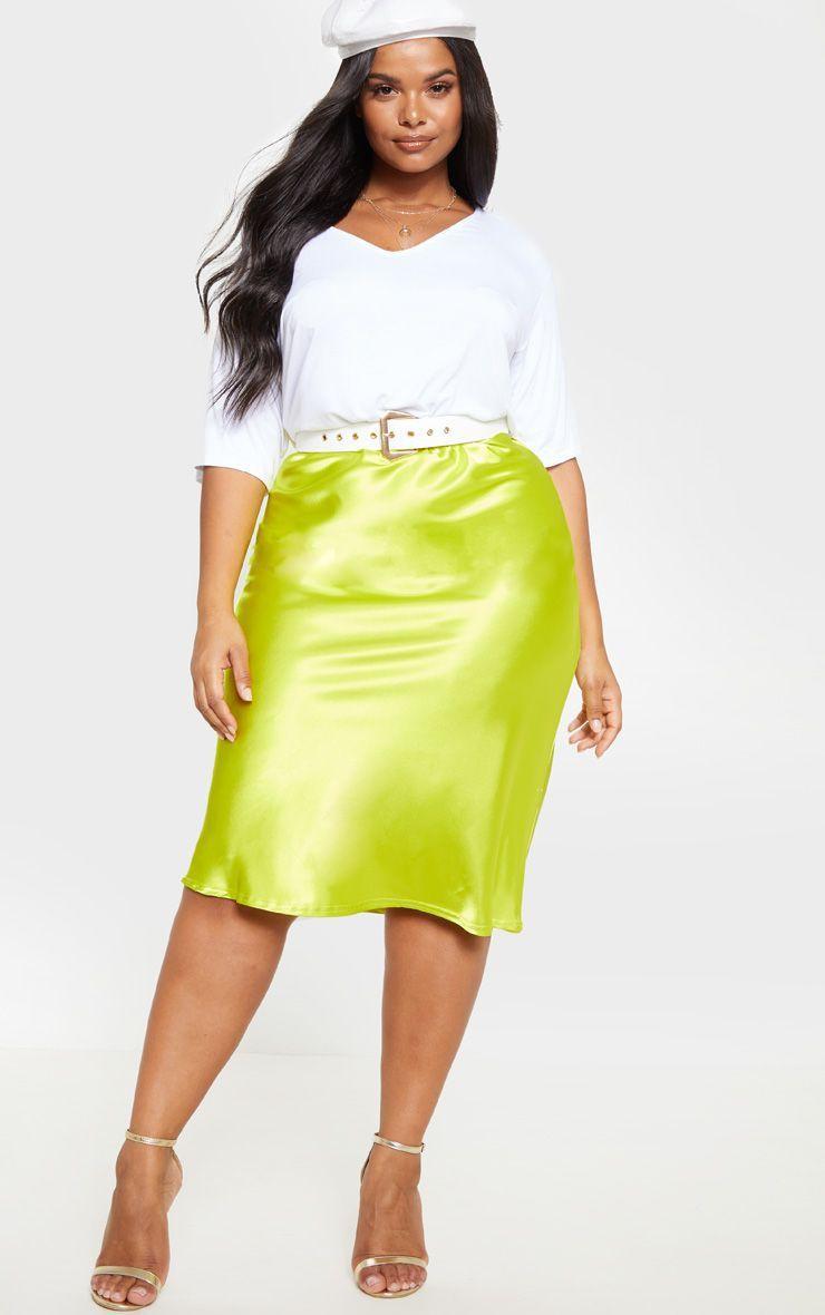 Plus size satin midi skirt
