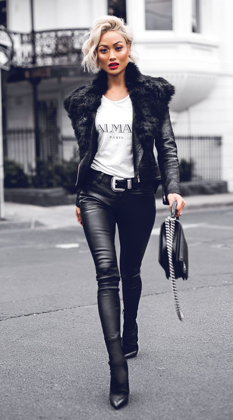Black and white lookbook dress with leather jacket, crop top, trousers