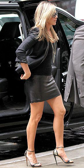 Jennifer aniston skirt pencil little black dress, high heeled shoe
