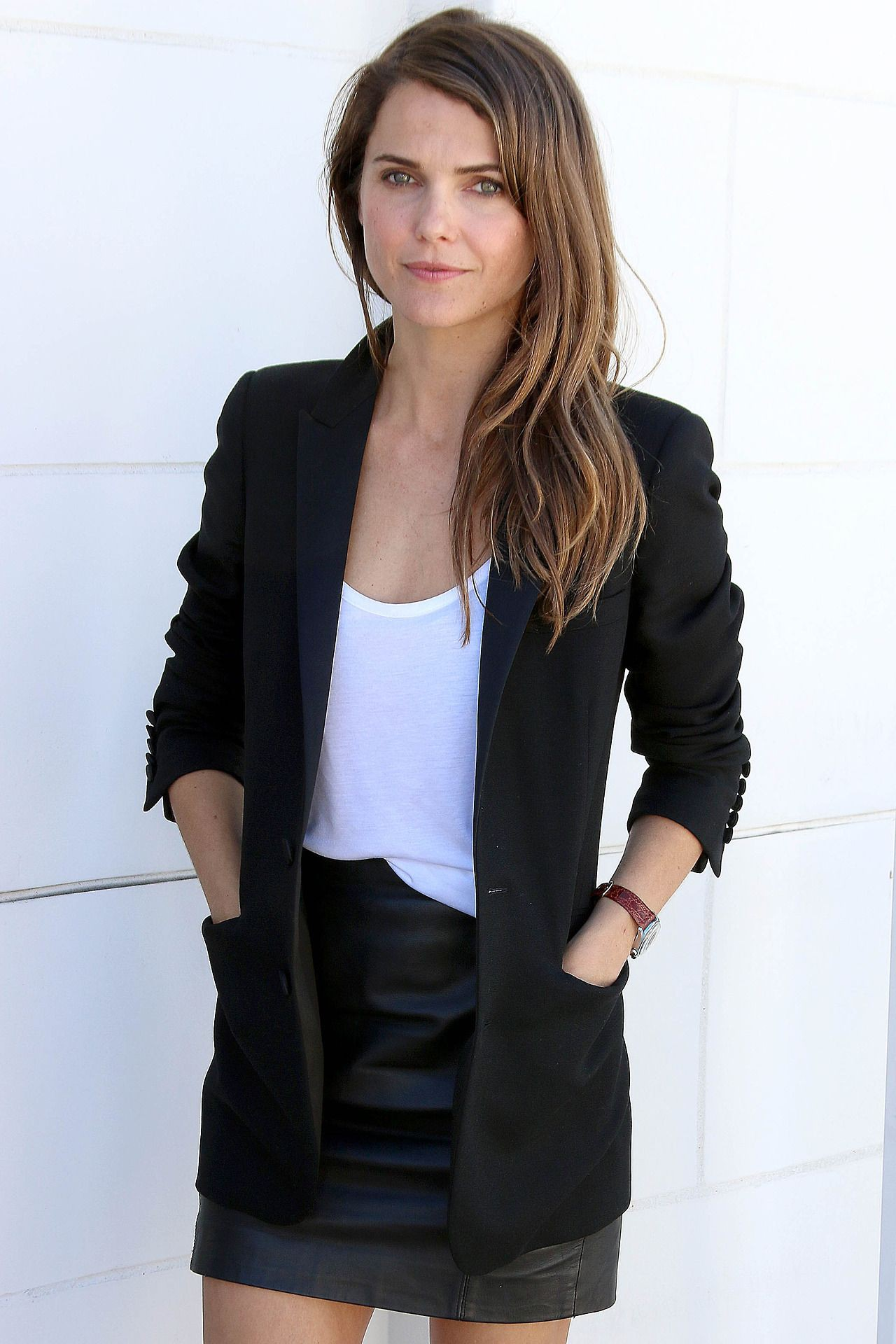 White and black classy outfit with trousers, jacket, blazer