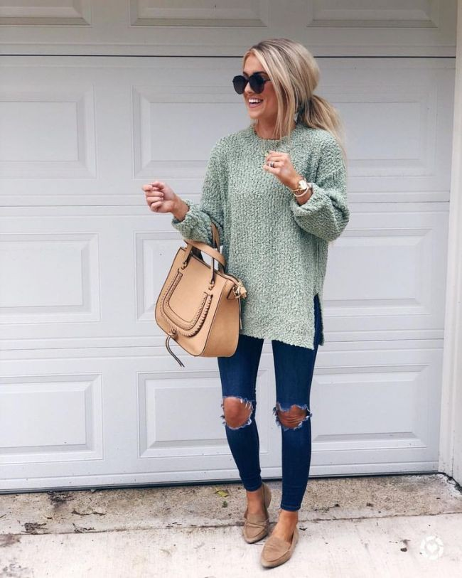 Turquoise and beige outfit style with sweater, shirt, denim