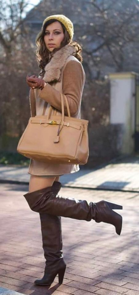 Brown colour outfit ideas 2020 with trousers, leather