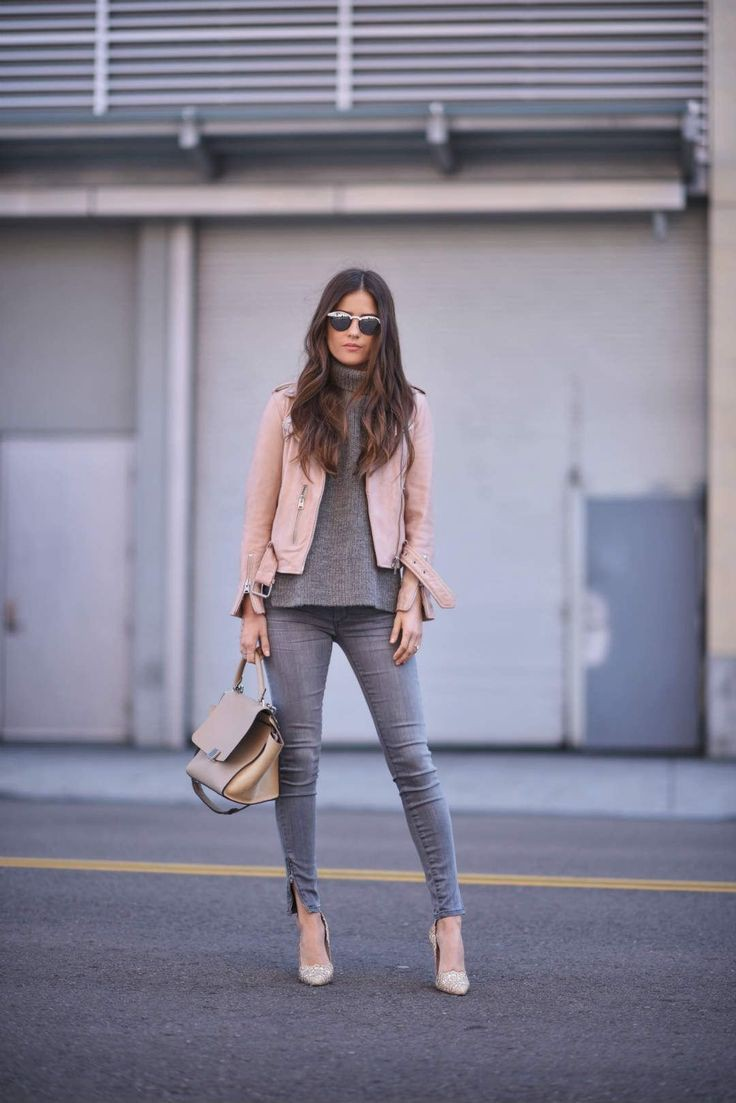 Beige and brown lookbook dress with leather jacket, trousers, jacket