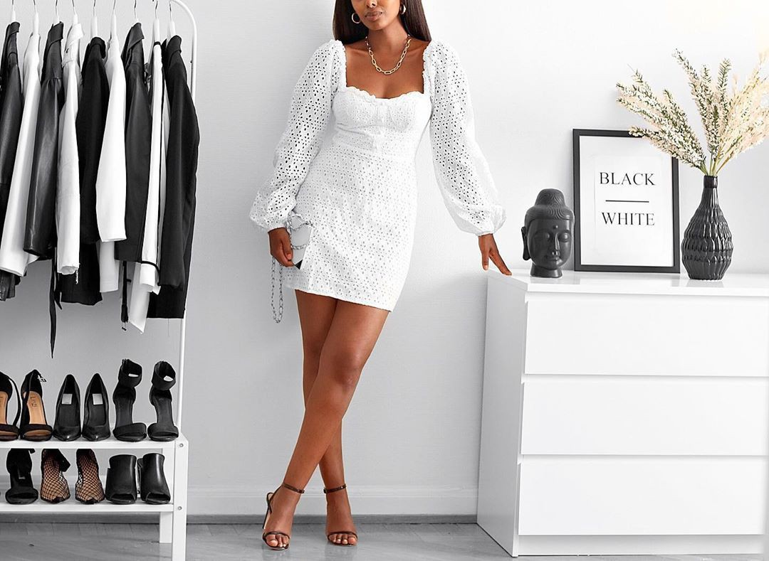 Black and white colour outfit with little black dress, cocktail dress, little black dress, forma ...