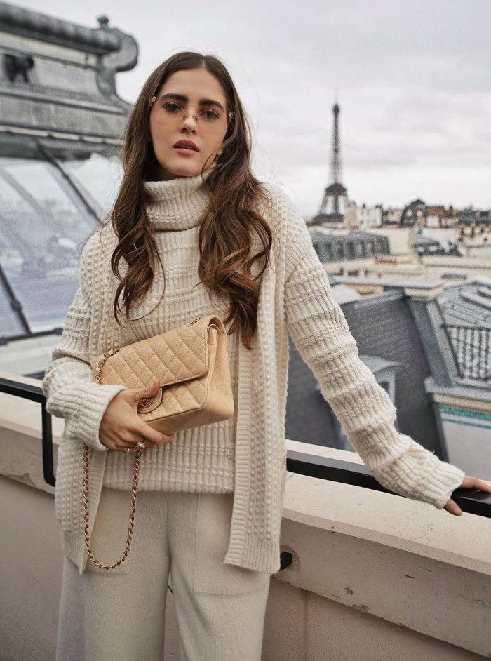 Beige outfit Pinterest with leggings, trousers, sweater